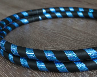 Beginner Hula Hoop / Infinity Collapsible / TRAVEL Hoop / Aqua Blue Sequin