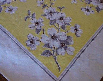 """Pretty Vintage Tablecloth Butter Yellow with Grey,White Dogwood Blossoms 46 x 49"""""""