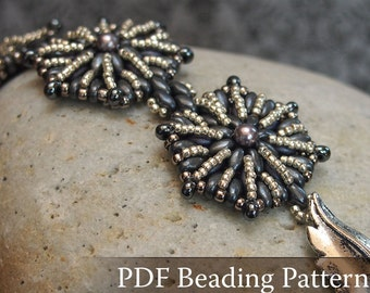 Beading pattern Moonshine Bracelet, Super Duo beads bracelet beading tutorial, vintage style bracelet pattern, silver bracelet, PDF