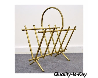 Vintage Italian Hollywood Regency Gold Gilt Metal Faux Bamboo Magazine Rack Holder
