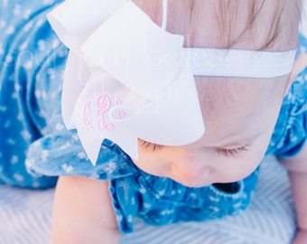 Monogrammed Baby Bow Headband, Personalized Baby Shower Gift, Stocking Stuffer, Bow with Monogram, Monogrammed Bow, Baby Girl Gift, Baby Bow
