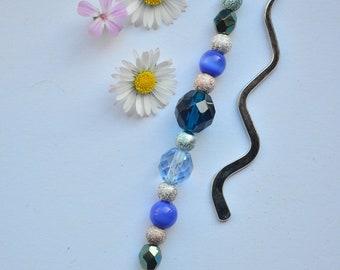 Bookmark, beaded, blue, Gift idea, gift for her, book worm, book club, teacher gift, pretty, nautical, long metal hook
