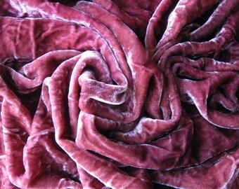 Hand Dyed Silk/ Rayon Velvet, Hand Dyed Velvet. Dark Pink Hand dyed Velvet