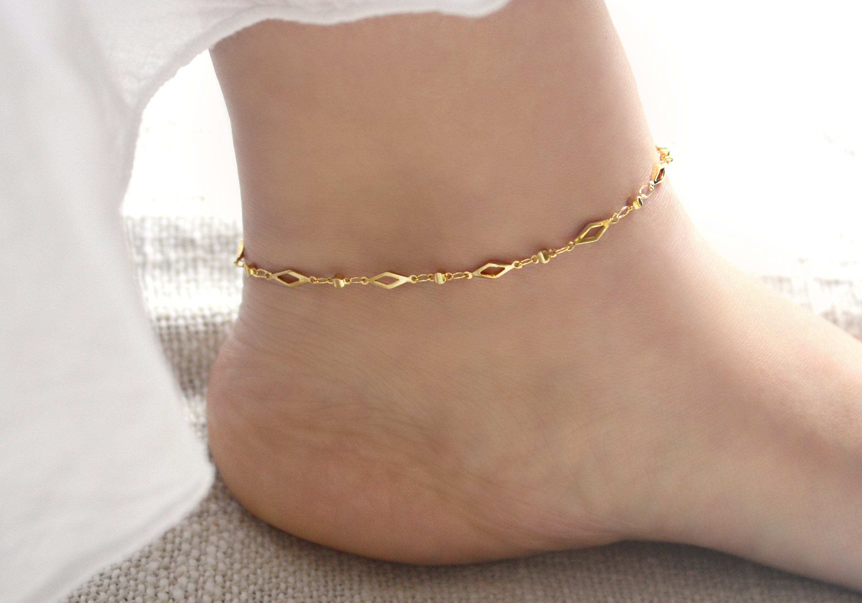 tri anklets women for over tricolor inches fremada pin color anklet size cable double gold s link