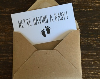 Pregnancy announcement cards, baby feet, vintage rustic style, pack of 10, white card, kraft envelopes included