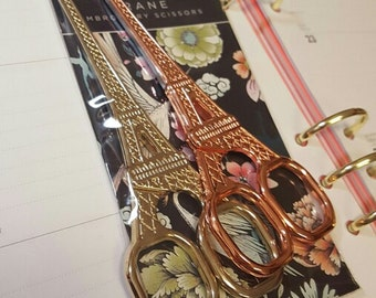Vintage-looking Rose Gold/Gold Eiffel Tower Scissors // Rose Gold and Gold Stationery