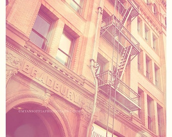 Bradbury building photograph, DTLA photo, Blade Runner film, Los Angeles, urban home decor city, cinema lovers, pink photograph print