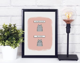 Cats Are Cute A4 Art Print