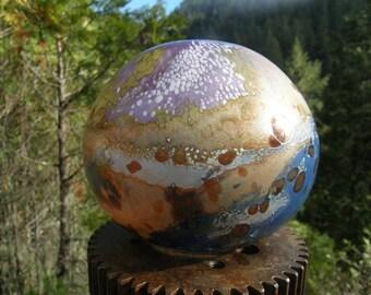 Flat glass balloon, garden art, planentary, handblown glass garden art, glass globe