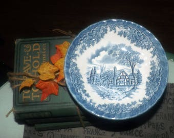 Vintage (c. early 1990s) Churchill China England The Brook Blue cereal or salad bowl. Blue-and-white Tudor cottage | landscape scene.