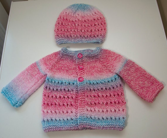 Handknitted Girls Cardigan And Hat for 0-3 Month Old.