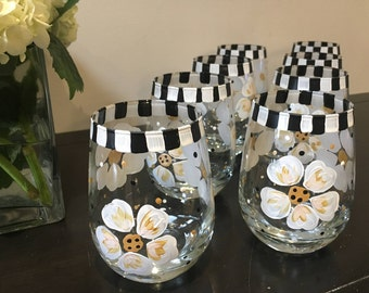 Hand Painted Stemless Wine Glasses  White, Black & Gold