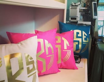 Custom Monogrammed College Dorm Throw Pillow Cover..White or Solid Color Cotton  Gold or Silver Monogram... Choose Style of Monogram