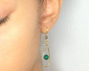 Teardrop earrings, Gold teardrop earrings, Brass teardrop earrings, Drop earrings, Dangle Earrings