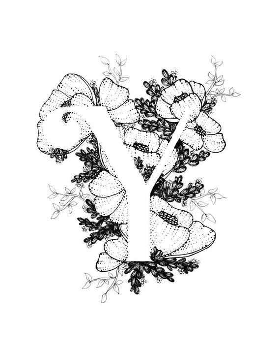 Letter Y print Alphabet Calligraphy Typography Monogram