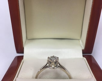 Vintage 9ct White Gold Diamond Solitaire Engagement Ring Size O