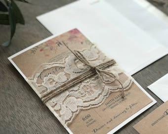 Boho Wedding Invitation Set, Rustic Wedding Invitation, Floral Wedding Invitation, Calligraphy Wedding Invitation, Elegant Wedding Invite