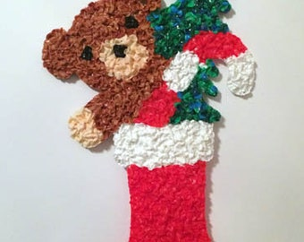 Vintage Melted Plastic Popcorn Christmas Stocking with Bear Decoration by Kage