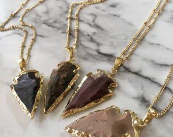 Arrow Head Necklace / Boho Arrowhead Necklace / Natural Stone Arrowhead / 14K Gold Pendant Necklace / Boho Layering Necklace