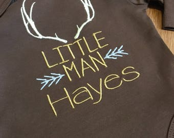 Little man antlers arrows gown or onesie. personalized baby outfit