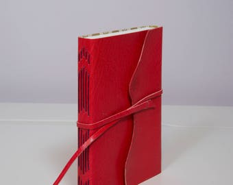 Bright Red Leather Journal / Notebook / Sketchbook - Long Stitch Binding with Gold Skull paper Interior