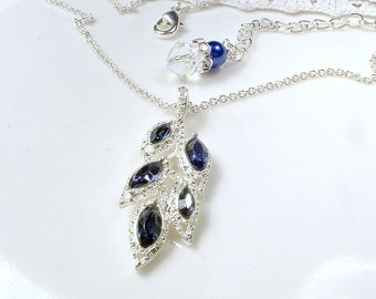 Silver Sapphire Necklace, Navy Blue Rhinestone Leaf Bridal Necklace, Bridesmaid Jewelry, Vintage Wedding Pendant Necklace Something Blue