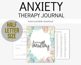 Half Letter - Anxiety Therapy Journal for Mental Health Struggles: Depression, Anxiety, Eating Disorders, Borderline, Grief, PTSD, A5