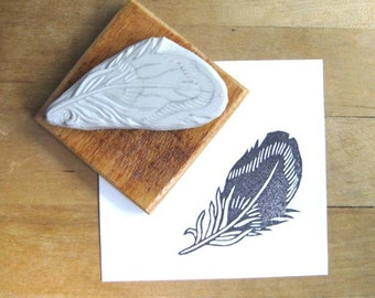 Striped Feather - Hand Carved Rubber Stamp