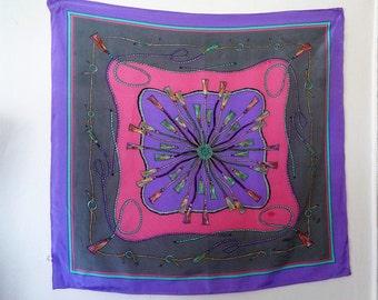 Tassels Pattern Silk Scarf, Pink Gray Lilac Scarf, Importado por el Corte Ingles