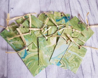 Set of 4 Handmade Luxury Marbled Gift Tags. Birthday Gift Tags, Wedding Gift Tags, Alternative Gift Tags, Unique Gift Tags. Green Gift Tags.