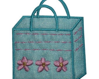 ID 8402 Flower Shopping Bag Patch beach Tote Fashion Embroidered IronOn Applique
