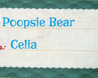 Quilt Label - To/From Scallop, Hand Embroidered & Custom Made