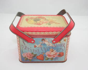 Vintage Valentine's Tin Box With Handles