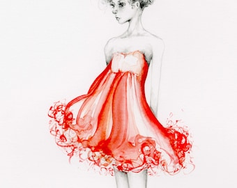 Red Dress Red Fine Art One of a Kind Gift for Wife Fashion Wall Art Gift Girls Room Red Fashion Illustration Red Decor Watercolor Painting