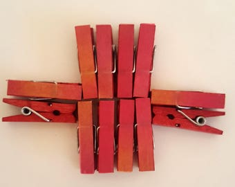 Red Orange Ombré Mini Decorative Clothespins - Dozen