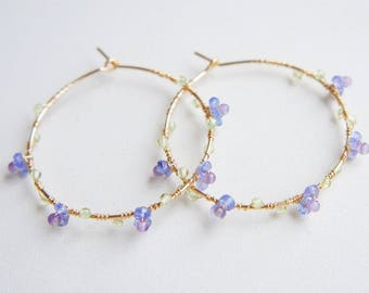 Tanzanite Hoop Earrings, Nature Inspired Jewelry, Blue Purple Earrings, Gift for her