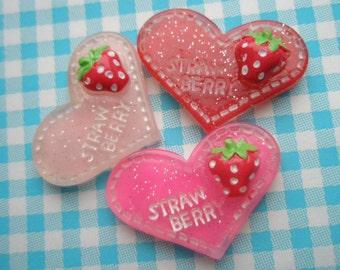 sale Strawberry on glitter heart cabochons Set 3pcs
