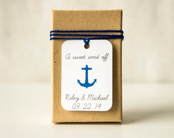 A Sweet Send Off Anchor Favor Tags, Match Anchor to your Wedding Color, Candy Wedding Favor Tags, Nautical Theme Wedding,