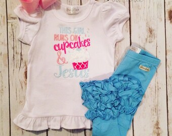 Cupcakes and Jesus Ruffle Shirt-M2M Sew Sassy light pink- made to match Sew Sassy shocking pink-m2m Sew Sassy Sky Blue-m2m icings