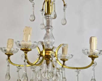 French Crystal Chandelier - 4 Arm Chandelier, French Faded Romance, French Shabby, French Country