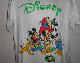 Vintage 80s 90s Hip Hop Rap Disney Mickey Minnie Goofy Pluto Donald T-Shirt L