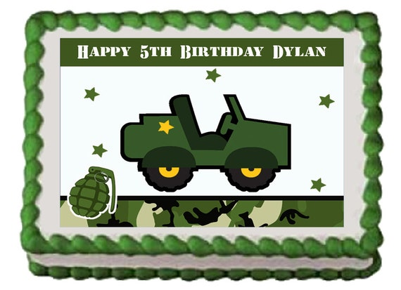 ARMY TRUCK Jeep Military Edible Boys Birthday Cake Or