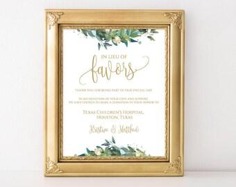 In Lieu of Favors Sign Template, In Lieu of Favors Sign, wedding donation Sign,  Editable In Lieu of Favors, Favor Sign, Wedding Sign, 0018