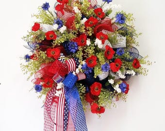 4th of July wreath, Summer wreath, Floral wreath, Double door, July 4th, Memorial day, Veterans day, Red white and blue wreath, Patriotic
