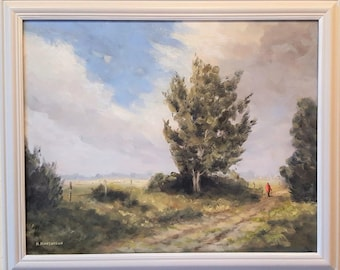 A 12 'A Norfolk Loke'.    Skies, Trees, Rural, Countryside, Oil.