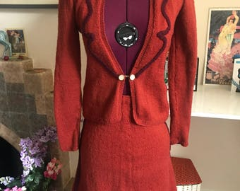 1940s Knitted Skirt Suit