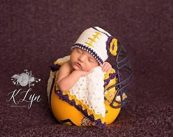 Crochet Baby Blanket Shell Stitch Stroller/Carseat/Travel Blanket and Beanie Set - White, Purple, and Gold Football Team - MADE TO ORDER