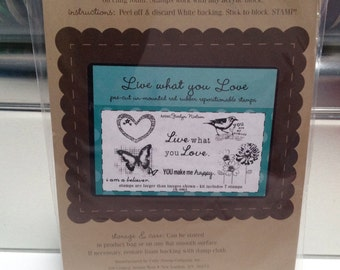 Unity Stamp Live what you Love red rubber stamp set Unused