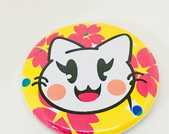 Happy Cat Button (Yellow)