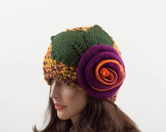Crochet Beanie Hat with Large Flower, Bright Color Beanie, Colorful Hat, Gift for Her, Yellow, Orange, Mustard, Green and Violet, Size M